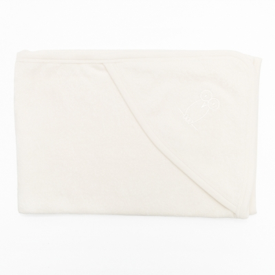 Kapuutsiga vannilina, valge kant. 75x75 cm