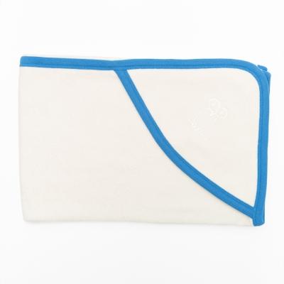 Kapuutsiga vannilina, sinine kant. 75x75 cm